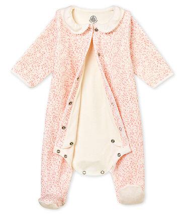Baby girl's Bodyjama in print cotton velour