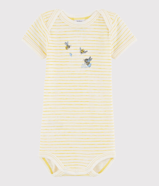 Unisex Babies' Short-Sleeved Bodysuit Marshmallow white / Jaune yellow