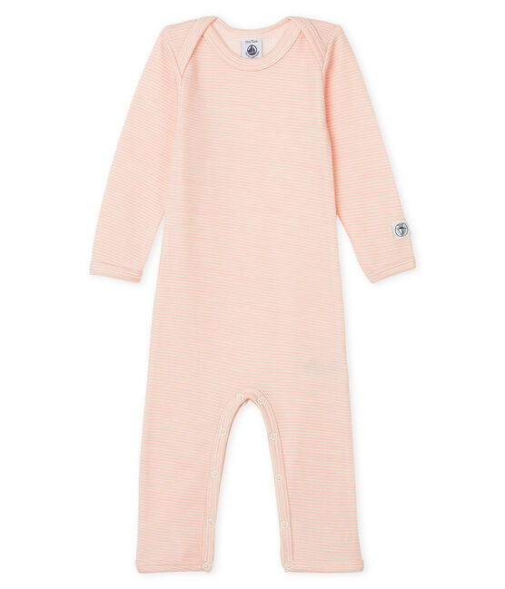 Babies' Long-Sleeved Bodysuit in Cotton/Wool Charme pink / Marshmallow white