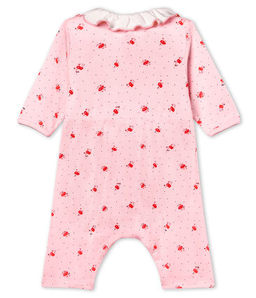 Baby girls' footless bodyjama in printed 1x1 rib knit