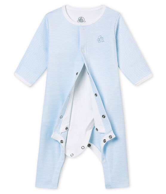 Baby's footless sleepsuit with built in bodysuit Fraicheur blue / Ecume white
