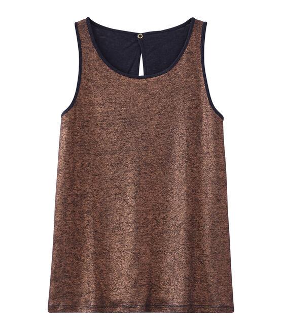 Women's iridescent linen sleeveless top Smoking blue / Copper pink