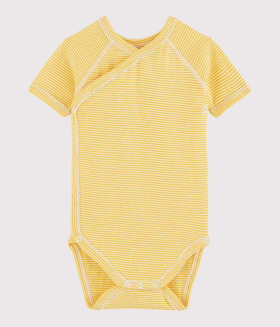 Unisex Babies' Short-Sleeved Wrapover Bodysuit Honey yellow / Marshmallow white