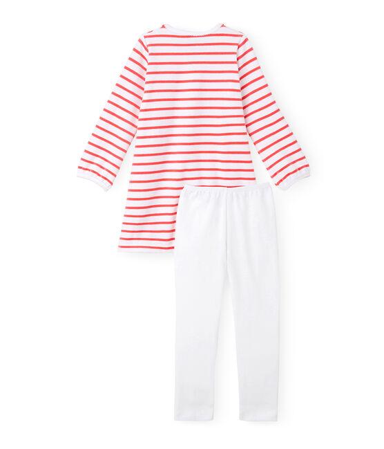Chemise de nuit fille à rayure marinière et son legging Ecume white / Carmen red