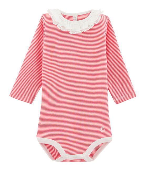 Long-sleeved bodysuit with ruff collar for baby girls Petal pink / Crystal blue