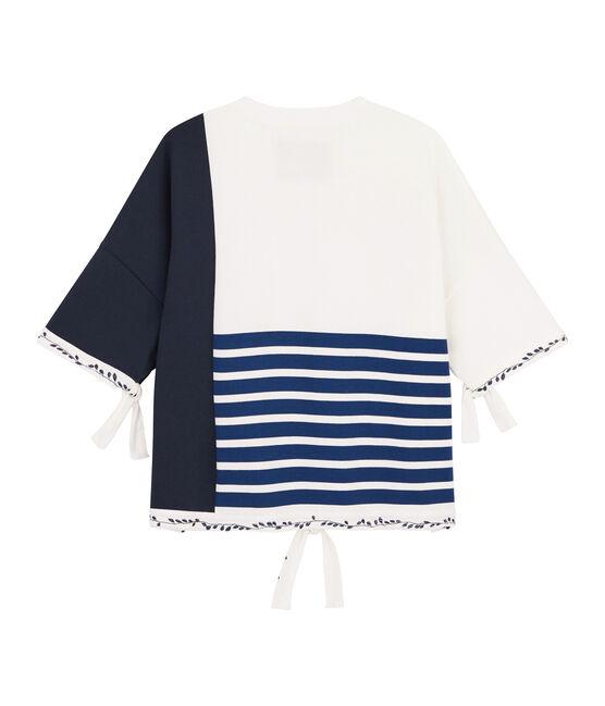 Women's Breton top Christoph Rumpf x Petit Bateau Marshmallow white / Smoking blue