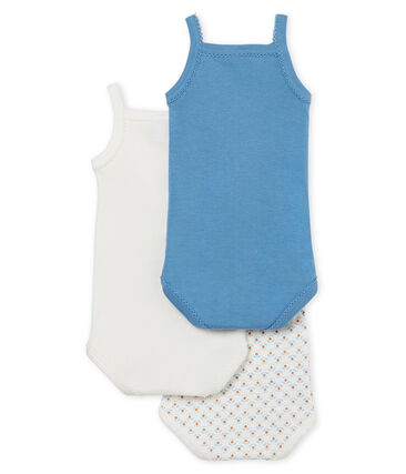 Baby Girls' Bodysuits with Straps - Set of 3