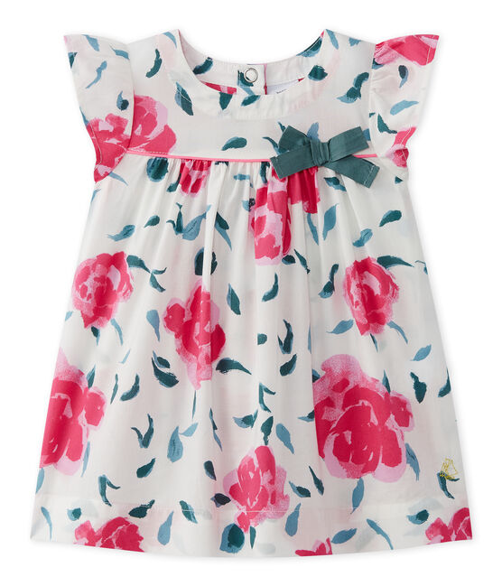 Baby girl's print dress with butterfly sleeves Marshmallow white / Multico white