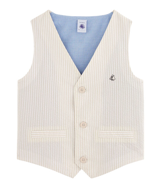 Boys' Sleeveless Jacket beige Beige / Marshmallow white