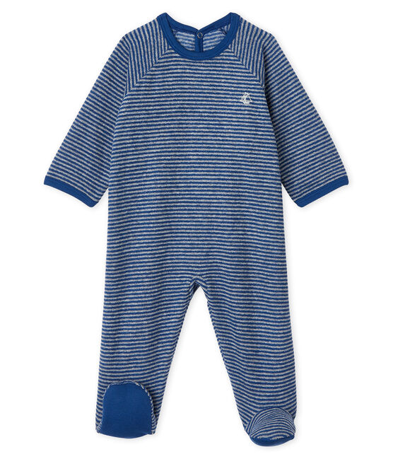 Baby Boys' Sleepsuit in Extra Warm Brushed Terry Towelling Major blue / Subway grey