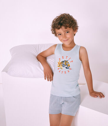 Boys' short Pyjamas Fontaine blue / Marshmallow white