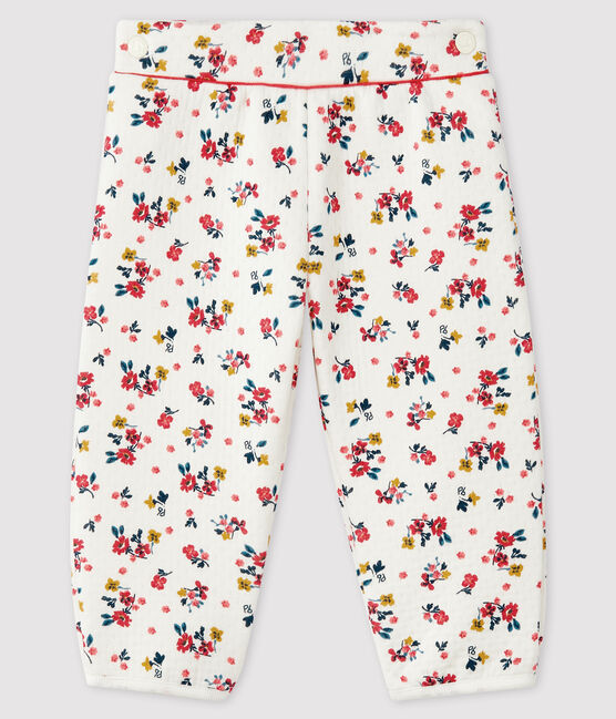 Baby girl's tubular knit trousers Marshmallow white / Multico white