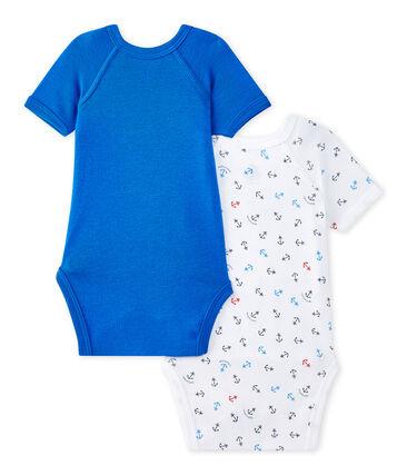 Set of 2 newborn baby boys' short-sleeved bodysuits