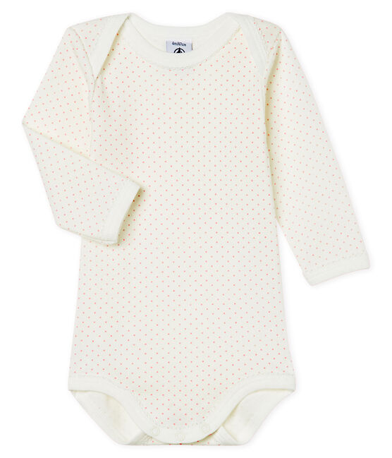 Baby Girls' Long-Sleeved Bodysuit Marshmallow white / Charme pink