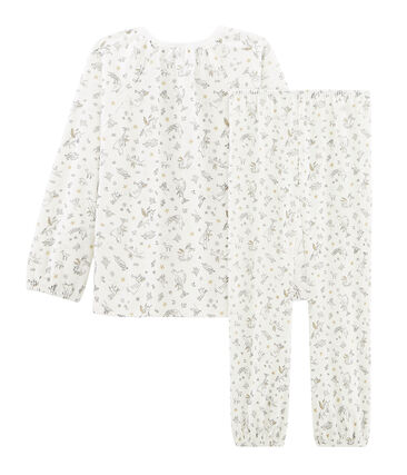 Girls' Velour Pyjamas Marshmallow white / Multico white