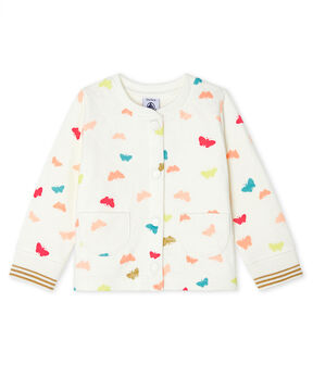 Baby Girls' Quilted Tube Knit Cardigan Marshmallow white / Multico white