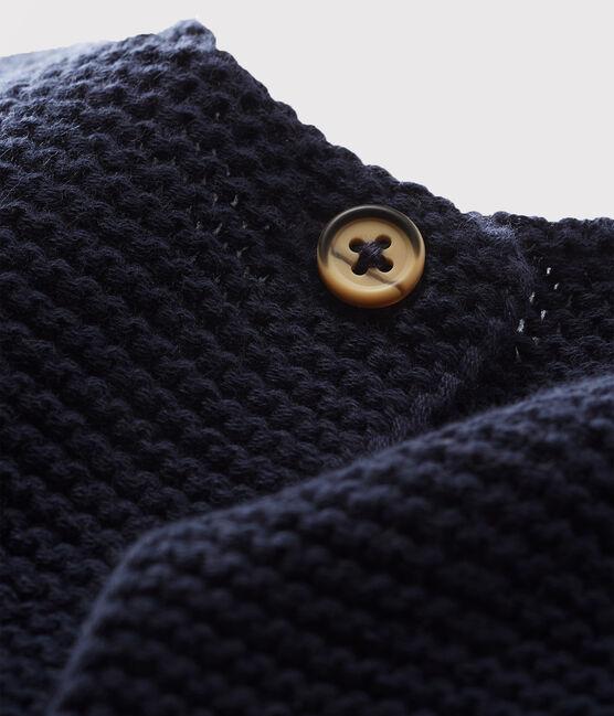 Babies' Organic Cotton Knit Cardigan Smoking blue