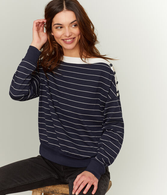 Women's Long-Sleeved Sweatshirt Smoking blue / Coquille beige