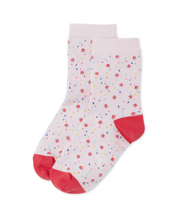 Girls' flower print socks