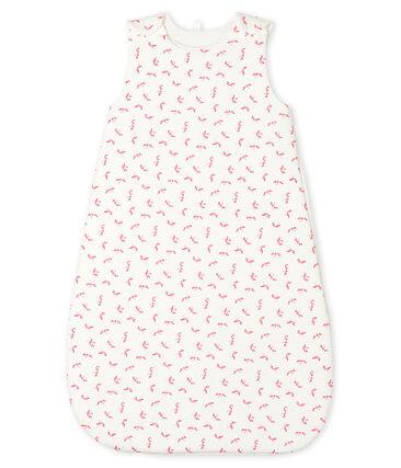 Babies' Rib Knit Sleeping Bag Marshmallow white / Groseiller pink
