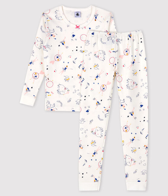 Girls' Snugfit Fairytale Print Ribbed Pyjamas Marshmallow white / Multico white