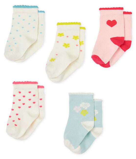 Set of 5 pairs of socks for baby girls . set