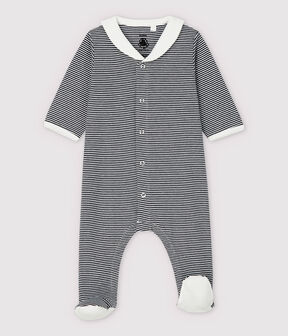 Babies' Stripy Organic Cotton Sleepsuit with Sailor Collar Smoking blue / Marshmallow white