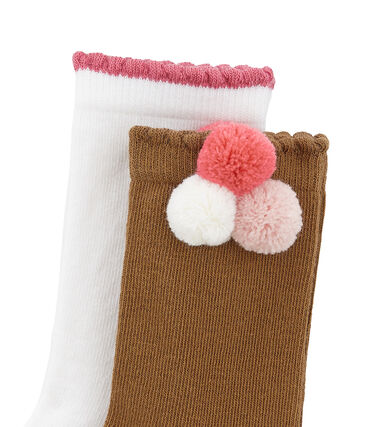 Set of 2 pairs of socks, plain and with pompom . set