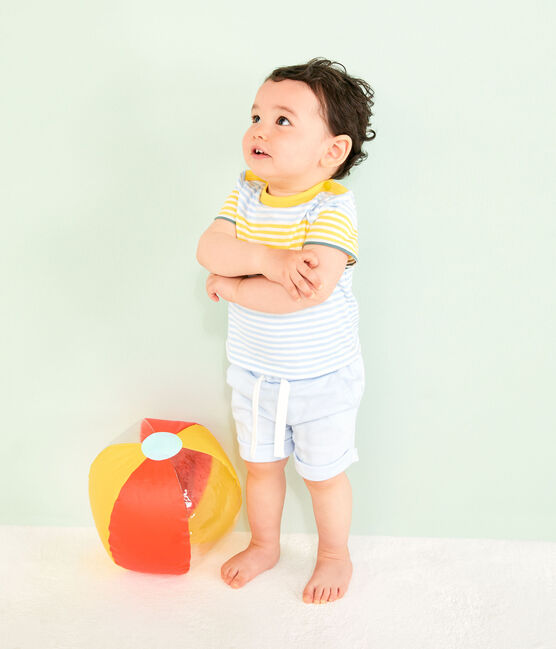 Stripy T-shirt for baby boys Marshmallow white / Multico white