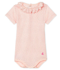 Baby Girls' Dress with Ruff Fleur pink / Copper pink