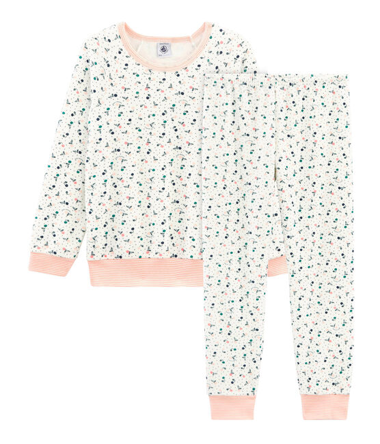 Girls' Pyjamas in Brushed towelling Marshmallow white / Multico white