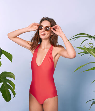 Women's 1-piece swimsuit with crossover back