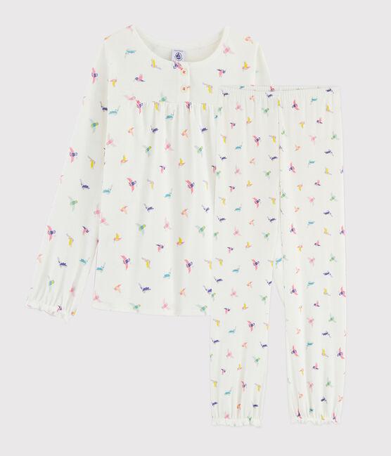 Girls' Birds Print Ribbed Pyjamas Marshmallow white / Multico white