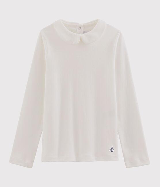 Girl's T-shirt with Peter Pan collar Marshmallow white