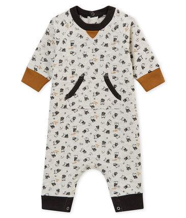 Baby boy's long print snowsuit Beluga grey / Multico white