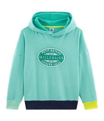 Child's Ribbed Hoody Esperanza green / Marshmallow white