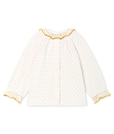 Baby Girls' Long-Sleeved Tube Knit Patterned Blouse Marshmallow white / Or yellow