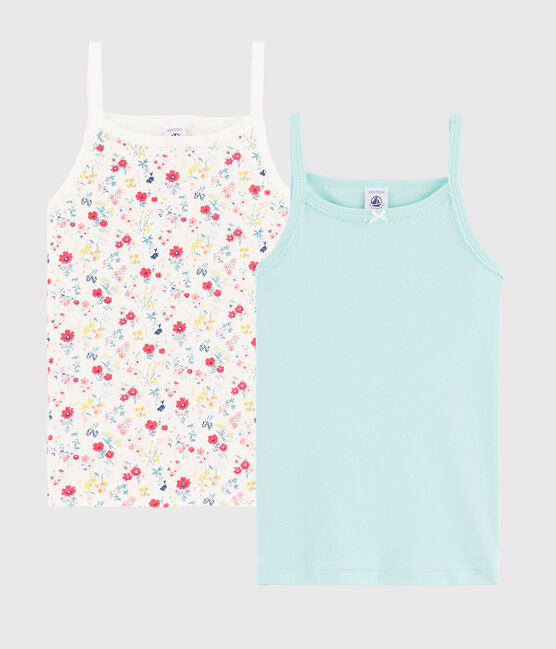 Girls' Floral Print Strappy Tops - 2-Piece Set . set