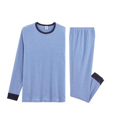 Boys' Ribbed Pyjamas Pablito blue / Marshmallow white