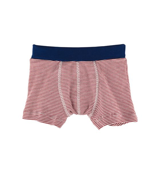 Boys' Boxer Shorts Carmin red / Marshmallow white
