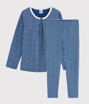 Girls' Hearts Print Tubular Knit Pyjamas Major blue / Marshmallow white