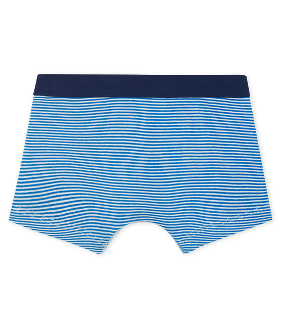 Boys' boxer shorts Marshmallow white / Riyadh blue