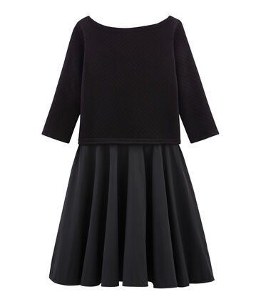 Women's Long-Sleeved Dual Material Dress Noir black