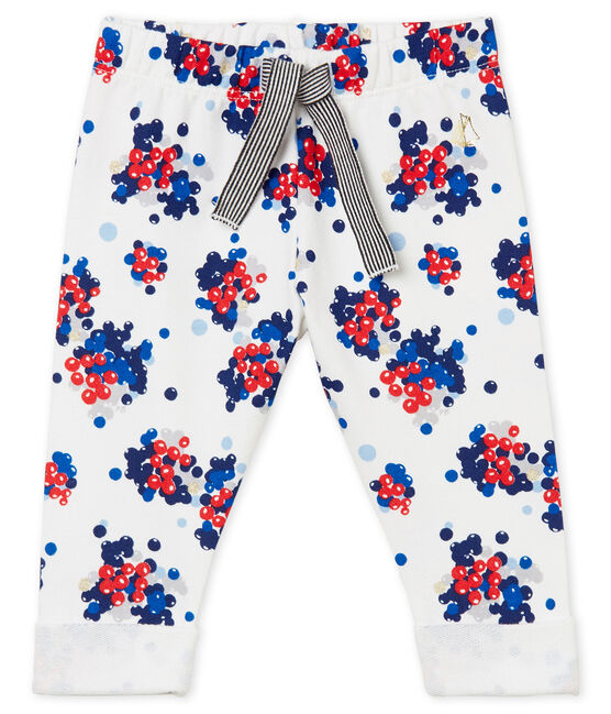 Baby girl's print trousers Marshmallow white / Multico white