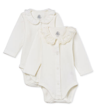 2fa731ae5 Baby girls' long-sleeved bodysuit with collar - 2-piece set | Petit Bateau