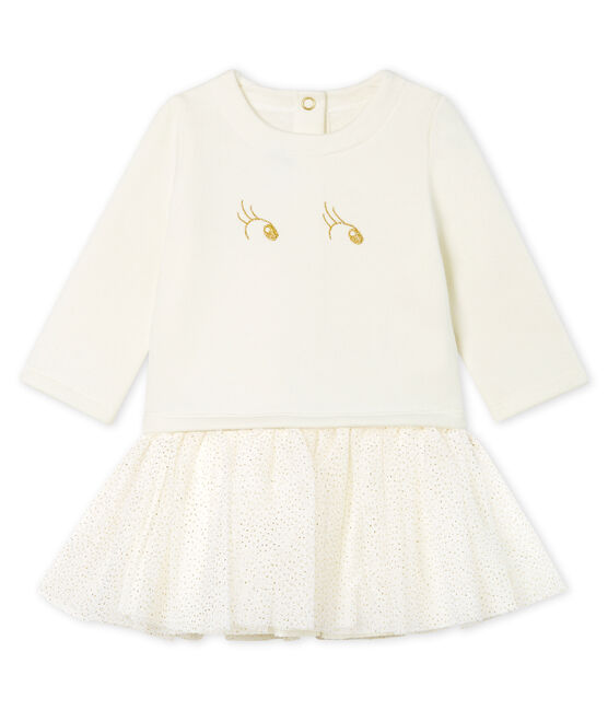 Baby Girls' Long-Sleeved Dual Material Dress Marshmallow white