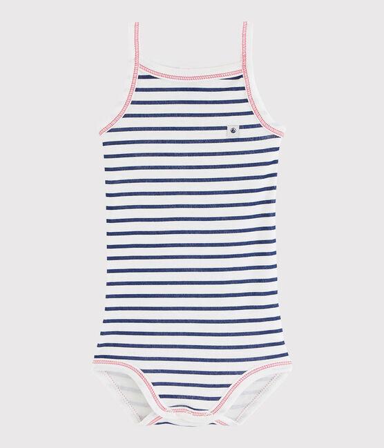 Baby Girls' Strappy Bodysuit Marshmallow white / Medieval blue