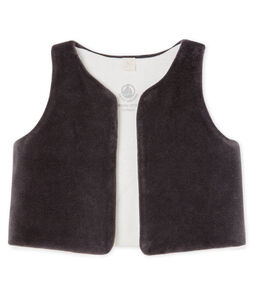 Babies' Sleeveless Velour Cardigan Capecod grey