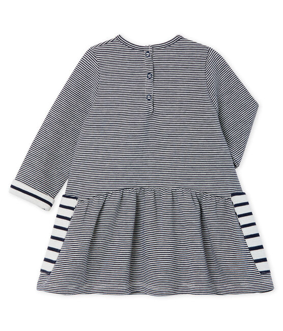 Baby Girls' Long-Sleeved Striped Dress Smoking blue / Marshmallow white