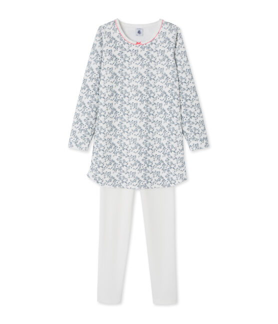 Little girl's nightgown with leggings Marshmallow white / Multico white